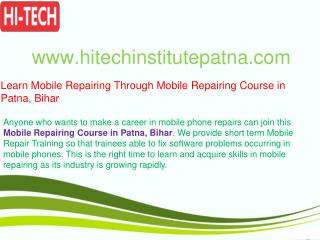 Learn Mobile Repairing Through Mobile Repairing Course in Patna, Bihar