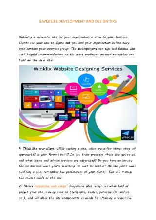5 WEBSITE DEVELOPMENT AND DESIGN TIPS