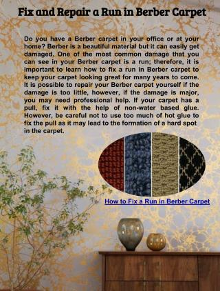 Fix and Repair a Run in Berber Carpet