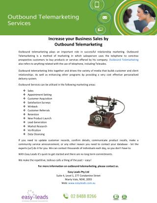 Increase your Business Sales by Outbound Telemarketing
