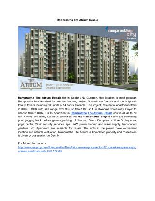 Ramprastha The Atrium Resale