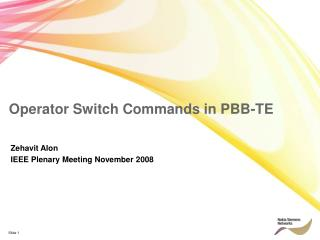 Operator Switch Commands in PBB-TE