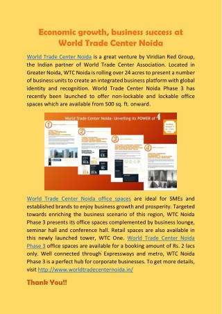 Economic growth, business success at World Trade Center Noida