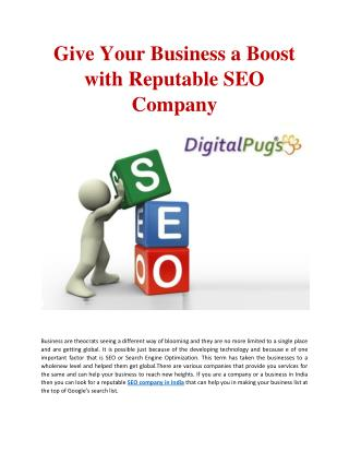 Give Your Business a Boost with Reputable SEO Company