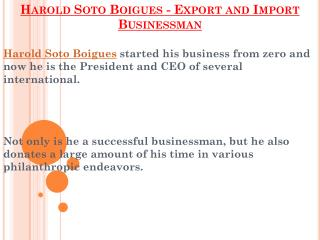 Export And Import Businessman - Harold Soto Boigues