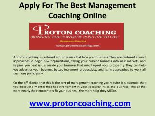 Apply for the best management coaching online