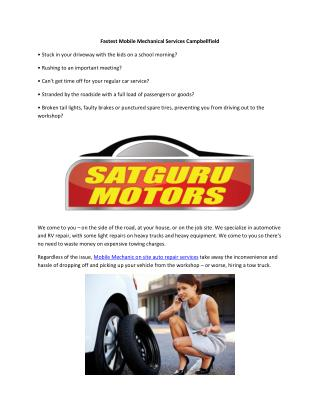 Fastest Mobile Mechanical Services Campbellfield