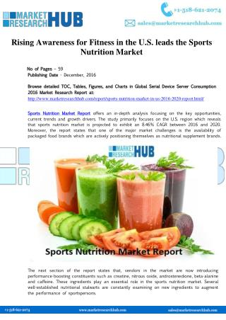 Sports Nutrition Market in US 2016-2020