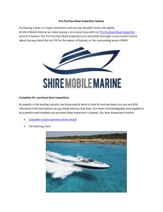 Pre Purchase Boat Inspection Sydney