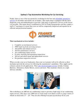 Sydney's Top Automotive Workshop for Car Servicing
