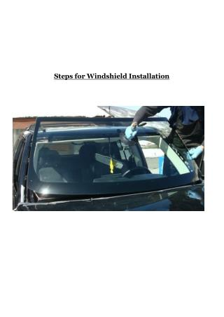 Steps for Windshield Installation
