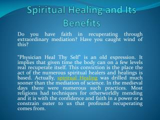 Spiritual Healing and Its Benefits
