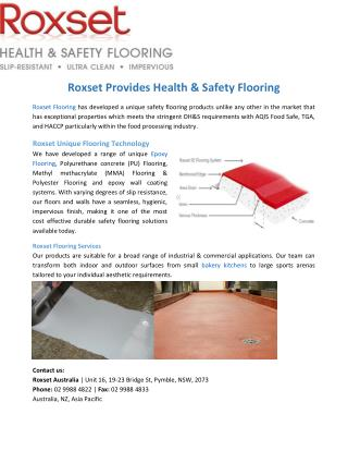 Roxset Provides Health & Safety Flooring