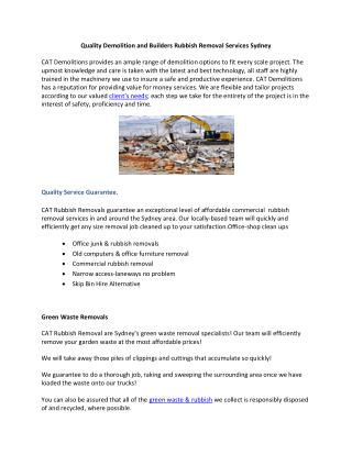 Quality Demolition and Builders Rubbish Removal Services Sydney