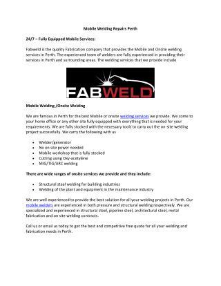 Mobile Welding Repairs Perth