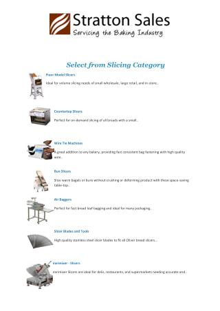 Bakery Parts Manufacturers, Stratton Sales