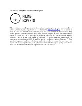 Get amazing Piling Contractor at Piling Experts