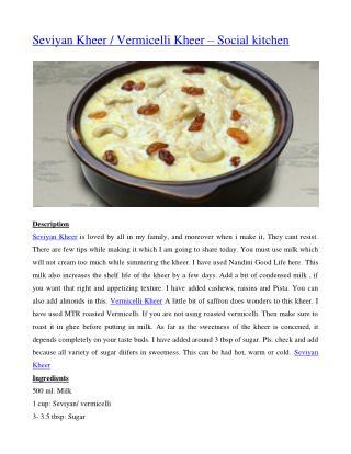 Seviyan Kheer / Vermicelli Kheer – Social kitchen