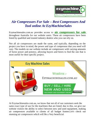 Air Compressors For Sale – Best Compressors And Tool online At EzyMachineSales