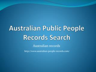Australian Public People Records Search