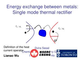 Energy exchange between metals:  Single mode thermal rectifier