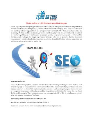 What to Look for in a SEO Services in Ahmedabad Company