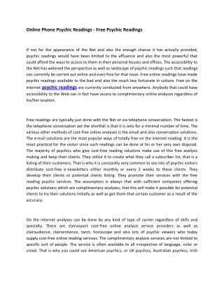 Free Psychic Reading In UK