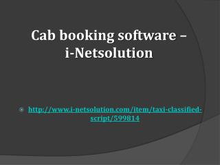 Cab Booking Software – i-Netsolution