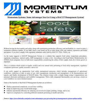 Momentum Systems: Some Advantages You Get Using a HACCP Management System!
