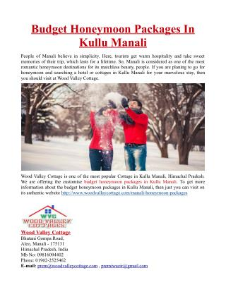 Budget Honeymoon Packages In Kullu Manali