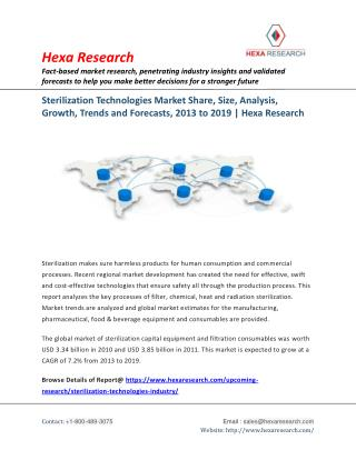Sterilization Technologies Market Research Report - Global Industry Analysis and Forecast to 2019 | Hexa Research