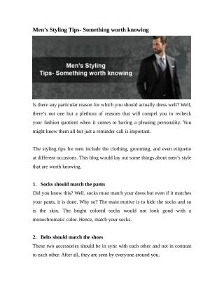 Men's Styling Tips- Something worth knowing