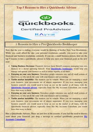 Top 5 Reasons to Hire a Quickbooks Advisor