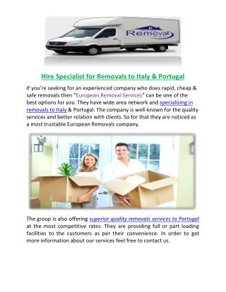 Removals to Portugal: Hire Professionals Online