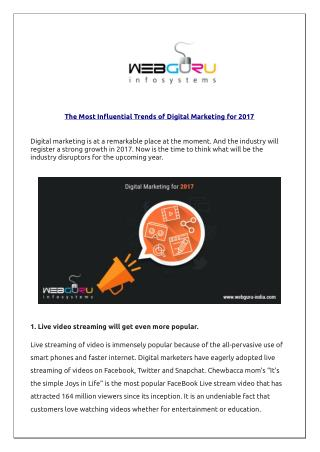 The Most Influential Trends of Digital Marketing for 2017