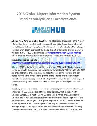 Airport Information System Market Analysis and Forecasts 2024