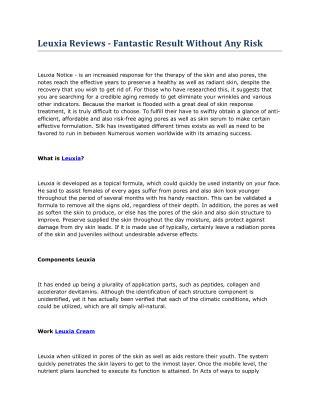 Leuxia Avis - Lisez les premiers effets secondaires graves Et les effets