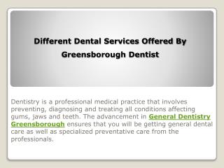 Different Dental Services Offered By Greensborough Dentist