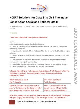 CBSE Class 8 NCERT Solution- Civics Chapter 1