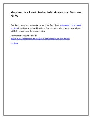 Manpower Recruitment Services India –International Manpower Agency