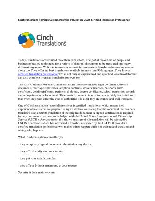 Cinchtranslations Reminds Customers of the Value of its USCIS Certified Translation Professionals