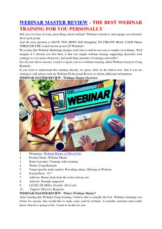 WEBINAR MASTER REVIEW – THE GREATEST WEBINAR TRAINING FOR YOU