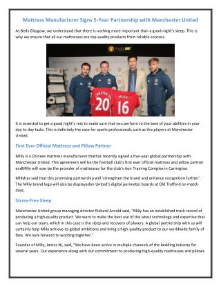 Mattress Manufacturer Signs 5-Year Partnership with Manchester United