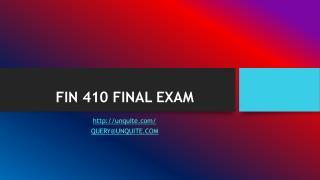 FIN 410 FINAL EXAM