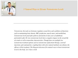 Natural Ways to Elevate Testosterone Levels