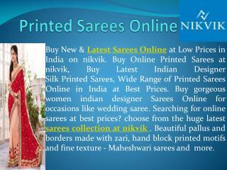 Printed Sarees Snline