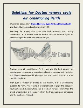 Ducted reverse cycle air conditioning Perth