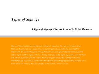 Types of Signage That are Crucial to Retail Business