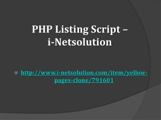 PHP Listing Script – i-Netsolution