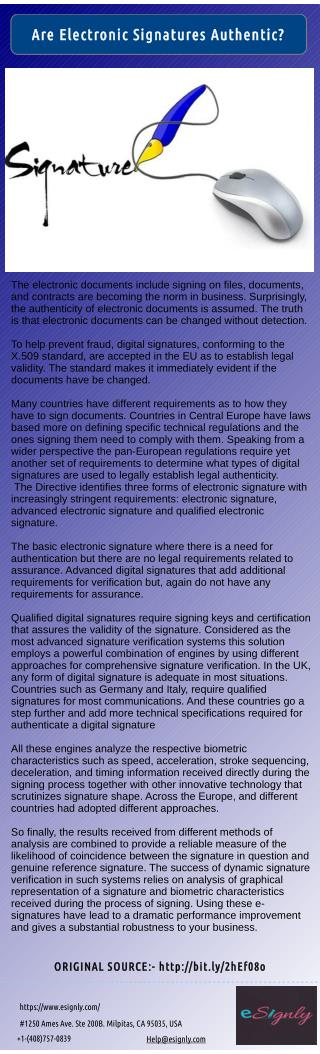 Check the Authenticity of a Electronic Signature